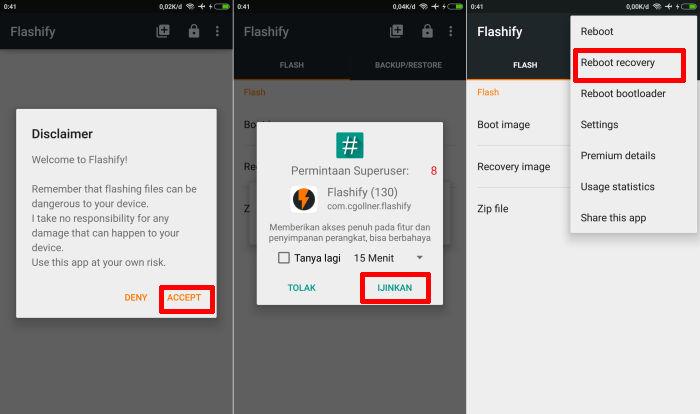 Cara Masuk Recovery via Aplikasi Flashify